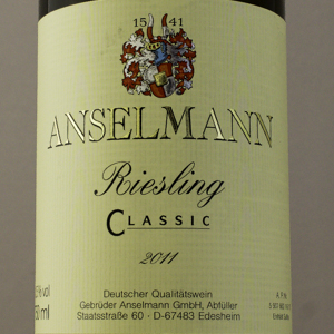 Allemagne Anselman Riesling Classic 2011 Blanc