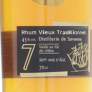 Rhum de mélasse La Reunion Savanna 7 ans Traditionnel 43%