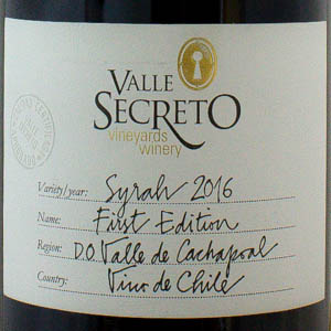 Syrah Valle Secreto 2016 Chili